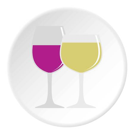 Glasses with red and white wine icon in flat circle isolated vector illustration for web Illustration