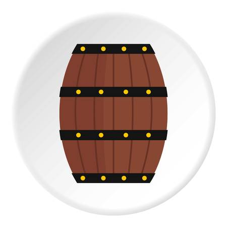 viticulture: Wine wooden barrel icon in flat circle isolated vector illustration for web