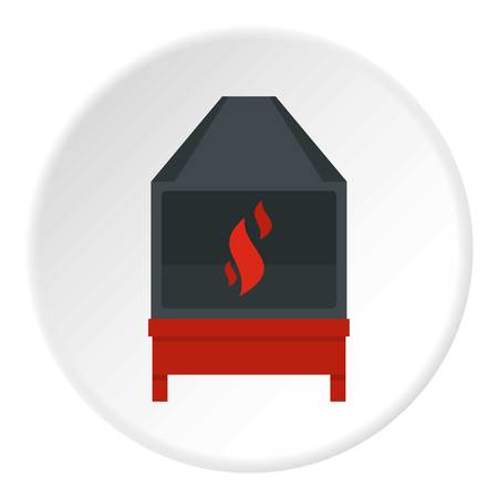 Blacksmith oven with flame fire icon in flat circle isolated vector illustration for web