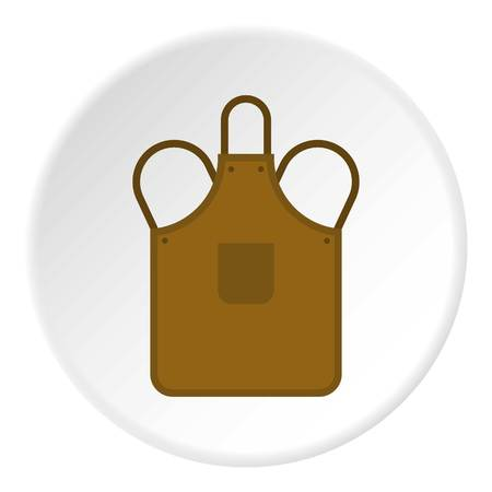 flat iron: Blacksmiths apron icon in flat circle isolated vector illustration for web