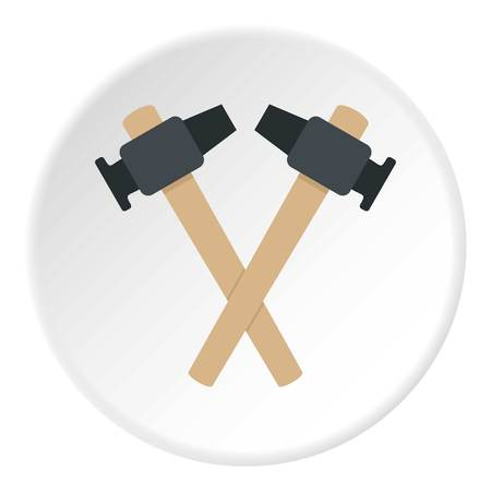 Crossed blacksmith hammer icon in flat circle isolated vector illustration for web