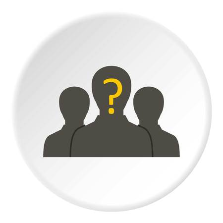 undecided: Group of business people icon in flat circle isolated vector illustration for web
