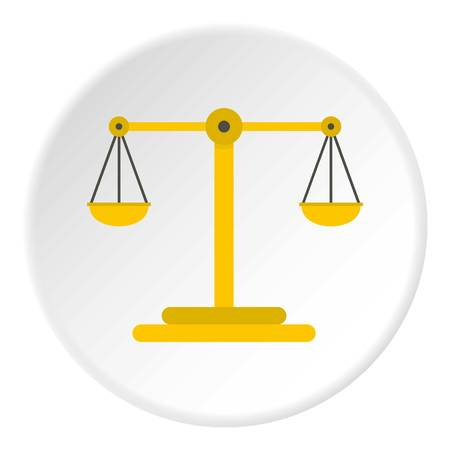 Scales of justice icon in flat circle isolated vector illustration for web
