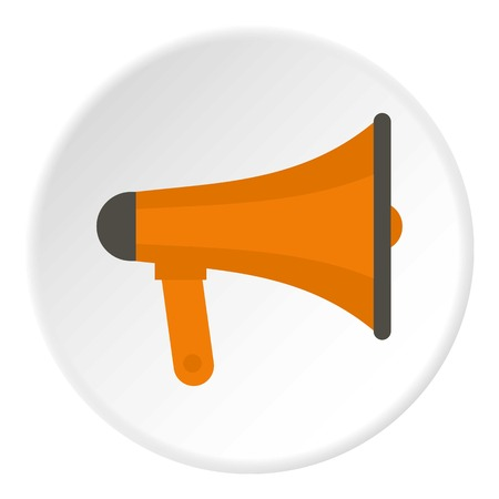 announce: Orange loudspeaker icon in flat circle isolated vector illustration for web