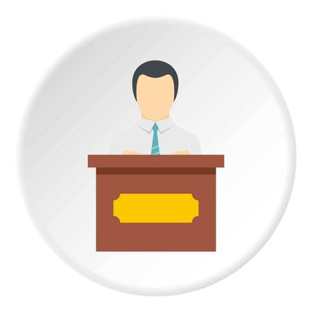 Public speaker icon in flat circle isolated vector illustration for web Illustration