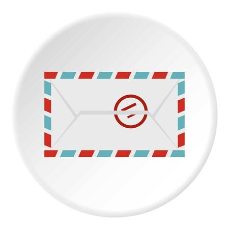 Postage envelope with stamp icon in flat circle isolated vector illustration for web