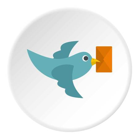 carrier pigeons: Dove carrying envelope icon in flat circle isolated vector illustration for web Illustration