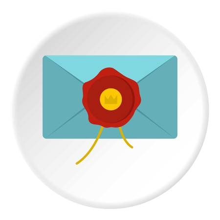 Blue envelope with red wax seal icon in flat circle isolated vector illustration for web