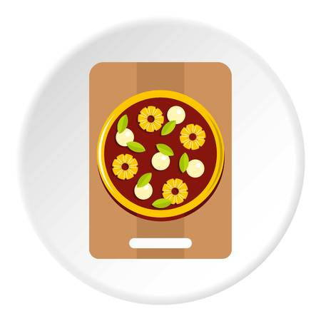 Pizza with ingredients on the wooden board icon in flat circle isolated vector illustration for web