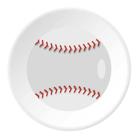 Ball for playing baseball icon in flat circle isolated vector illustration for web Ilustração