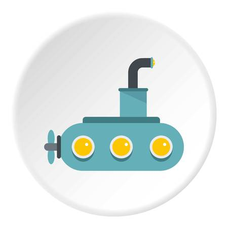 Submarine icon in flat circle isolated vector illustration for web
