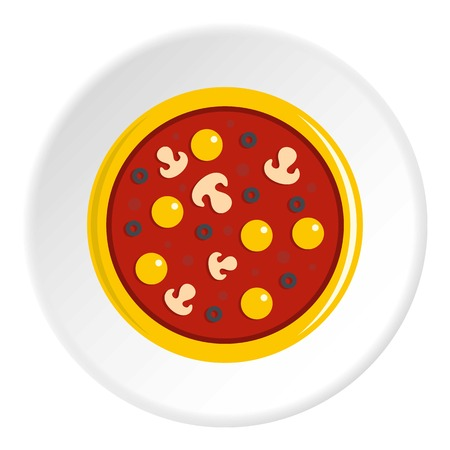 Pizza with egg yolk, olives, mushrooms and tomato sauce icon in flat circle isolated vector illustration for web