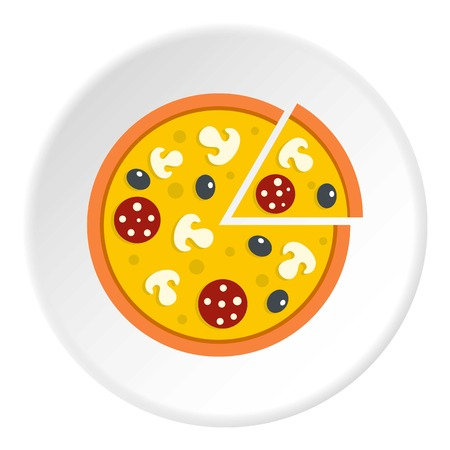 Pizza with mushrooms, salami and olives, lifted slice one icon in flat circle isolated vector illustration for web