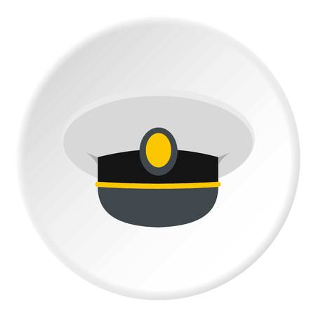 commander: White nautical hat icon in flat circle isolated vector illustration for web