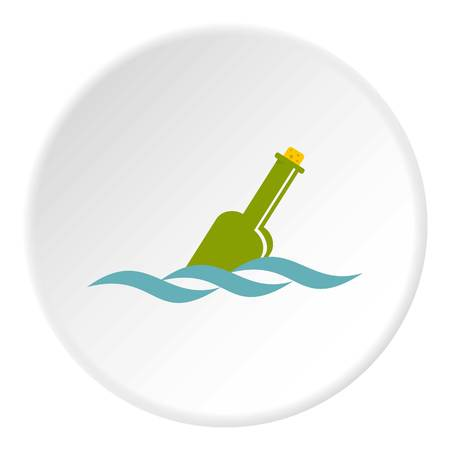Glass green bottle in a water icon in flat circle isolated vector illustration for web Illustration