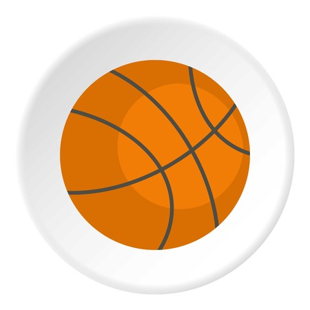 Orange basketball ball icon in flat circle isolated vector illustration for web