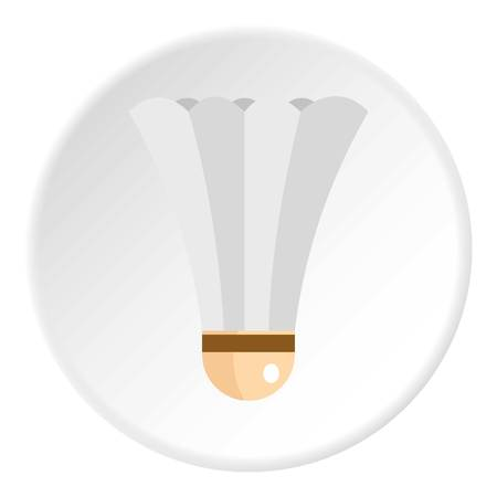 Shuttlecock for playing badminton icon in flat circle isolated vector illustration for web