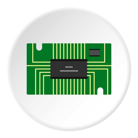 microprocessor: Green microchip icon in flat circle isolated vector illustration for web