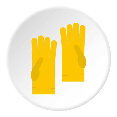 Yellow rubber gloves icon in flat circle isolated vector illustration for web Illustration