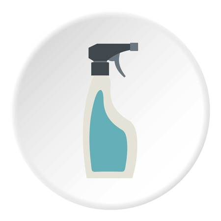 Blue sprayer bottle icon in flat circle isolated vector illustration for web Illustration
