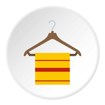 Yellow scarf on wooden coat hanger, icon in flat circle isolated vector illustration for web