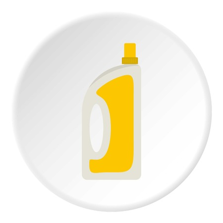 fragrances: Bottle of conditioning or detergent icon in flat circle isolated vector illustration for web