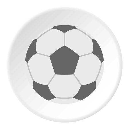 soccer goal: Soccer ball icon in flat circle isolated vector illustration for web