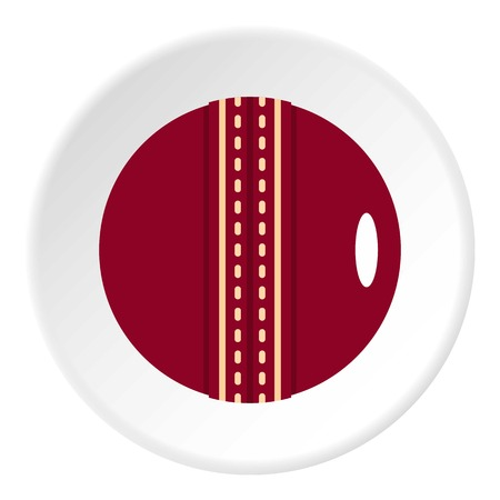 criket: Red leather cricket ball icon in flat circle isolated vector illustration for web