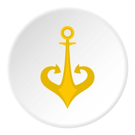 Gold anchor icon in flat circle isolated vector illustration for web
