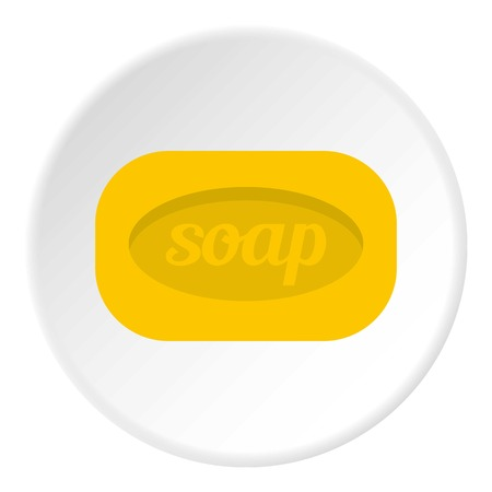 drenched: Yellow soap bar icon in flat circle isolated vector illustration for web Illustration