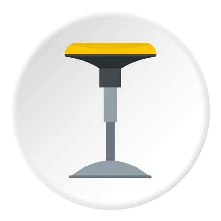 Yellow bar stool icon in flat circle isolated vector illustration for web