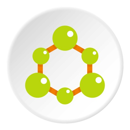Green molecule structure icon in flat circle isolated vector illustration for web