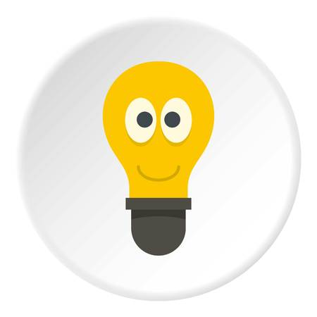 halogen: Yellow smiling light bulb with eyes icon in flat circle isolated vector illustration for web