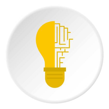 Circuit board inside light bulb icon in flat circle isolated vector illustration for web