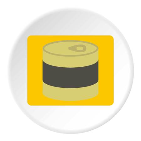 hermetic: Closed tin can icon in flat circle isolated vector illustration for web