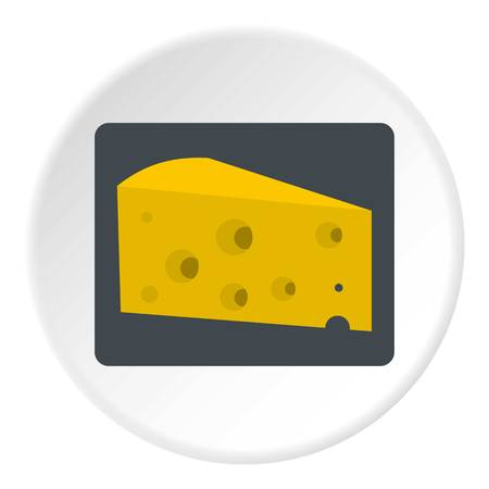 cheez: Piece of cheese icon in flat circle isolated vector illustration for web