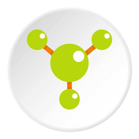 Abstract green molecules icon in flat circle isolated vector illustration for web