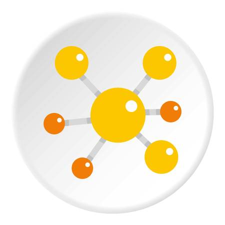 Yellow molecular model icon in flat circle isolated vector illustration for web