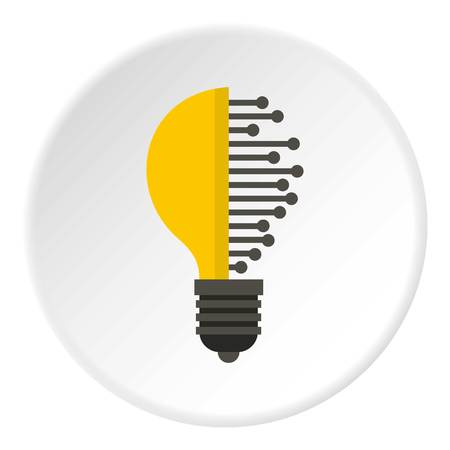 Lightbulb with microcircuit icon in flat circle isolated vector illustration for web