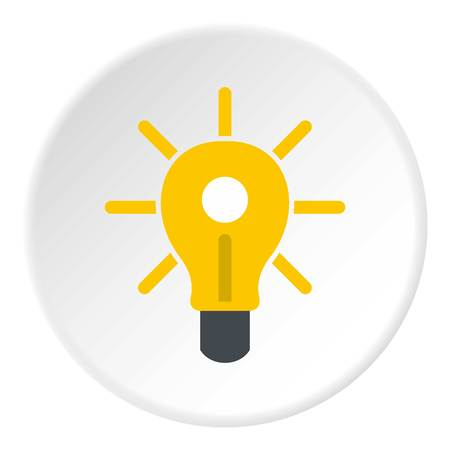 Yellow glowing light bulb icon in flat circle isolated vector illustration for web Illustration