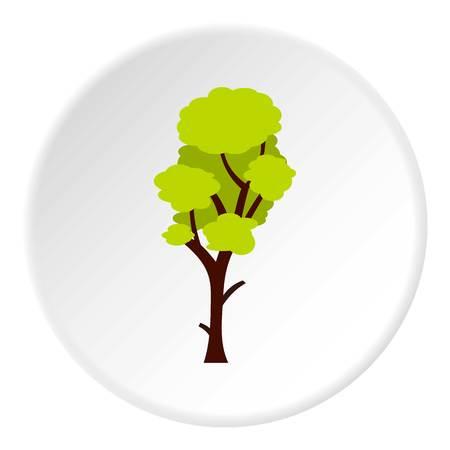 Tall green tree icon circle