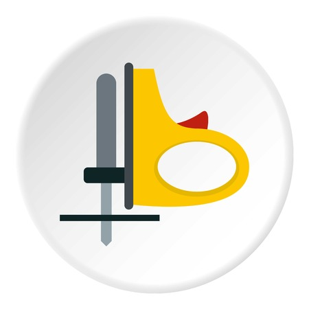 Yellow cordless reciprocating saw icon in flat circle isolated vector illustration for web