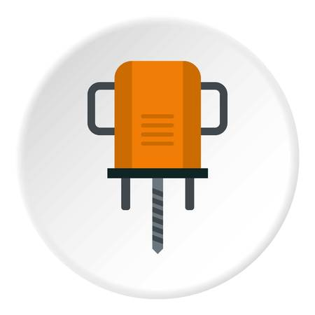 Orange boer drill icon in flat circle isolated vector illustration for web Illustration