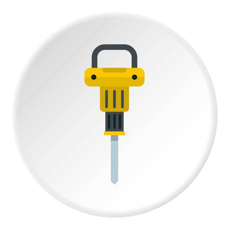 reinforcement: Pneumatic hammer icon in flat circle isolated vector illustration for web
