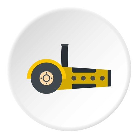 dangerous work: Yellow circular saw icon in flat circle isolated vector illustration for web
