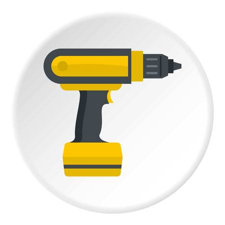 Yellow electric screwdriver drill icon in flat circle isolated vector illustration for web