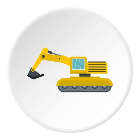 Excavator icon in flat circle isolated vector illustration for web Illustration