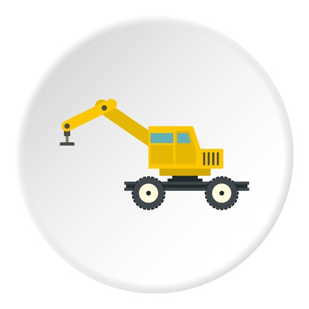 Crane truck icon in flat circle isolated vector illustration for web