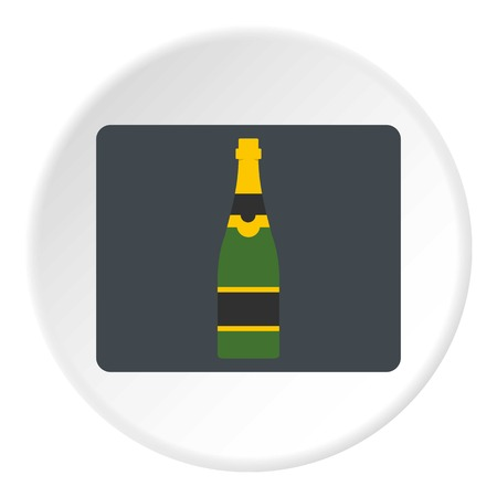 illustrative: Champagne bottle icon in flat circle isolated vector illustration for web