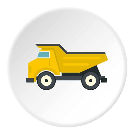 heavy construction: Yellow dump truck icon in flat circle isolated vector illustration for web Illustration